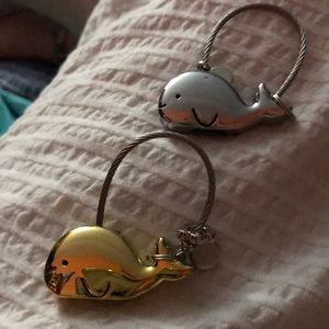 New Metal Whale Keychains  silver or gold